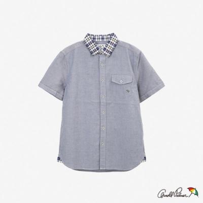Arnold Palmer-男裝-格子領片牛津襯衫-藍