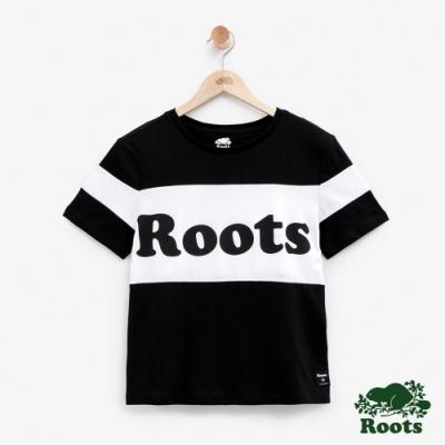 ROOTS女裝 短版色塊拚接短袖T恤-黑