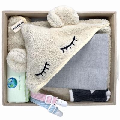 【台灣 Nature Me】親親。寵愛新生兒豪華禮盒 (包巾、哺乳巾、背巾披風、造型披風)