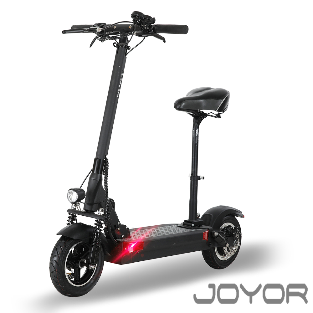 【JOYOR】EY-09A+48V鋰電定速 500W電機大輪徑碟煞電電動滑板車-坐墊版