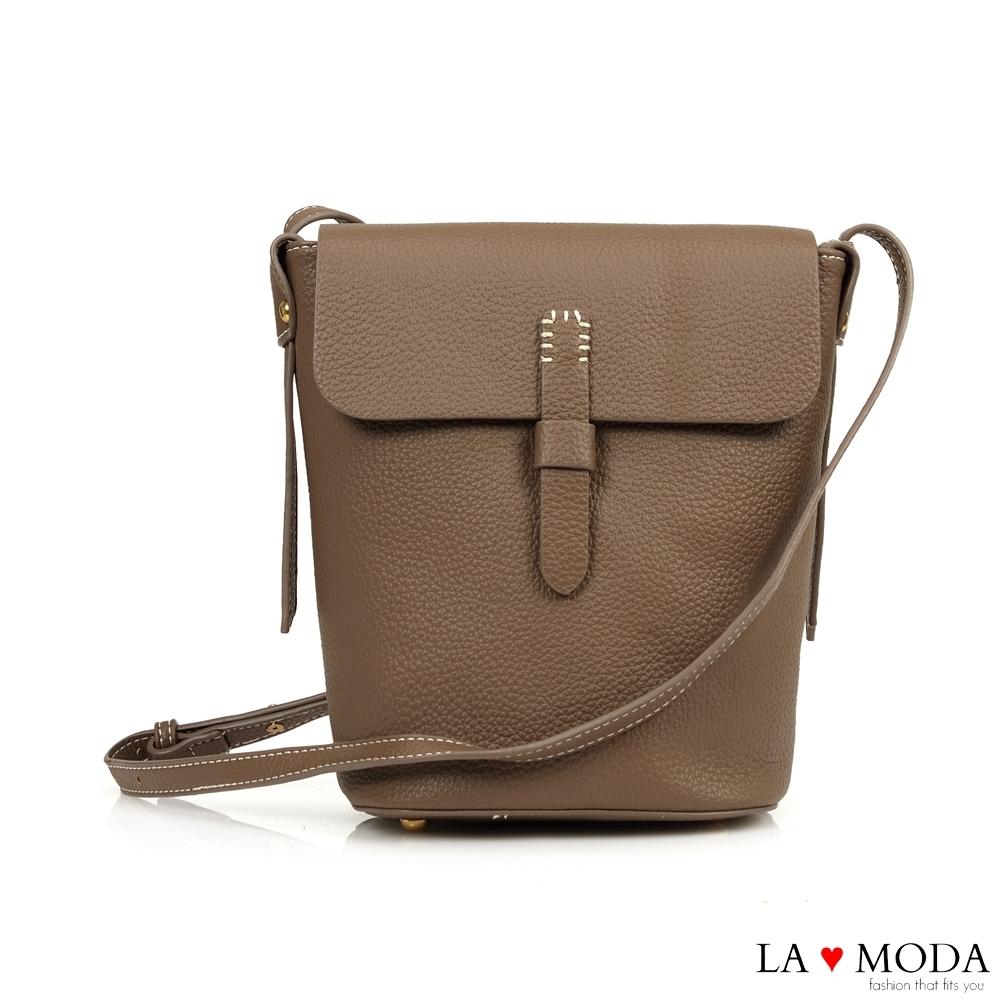 La Moda 輕巧便攜高質感荔枝紋肩背斜背小包(深杏)