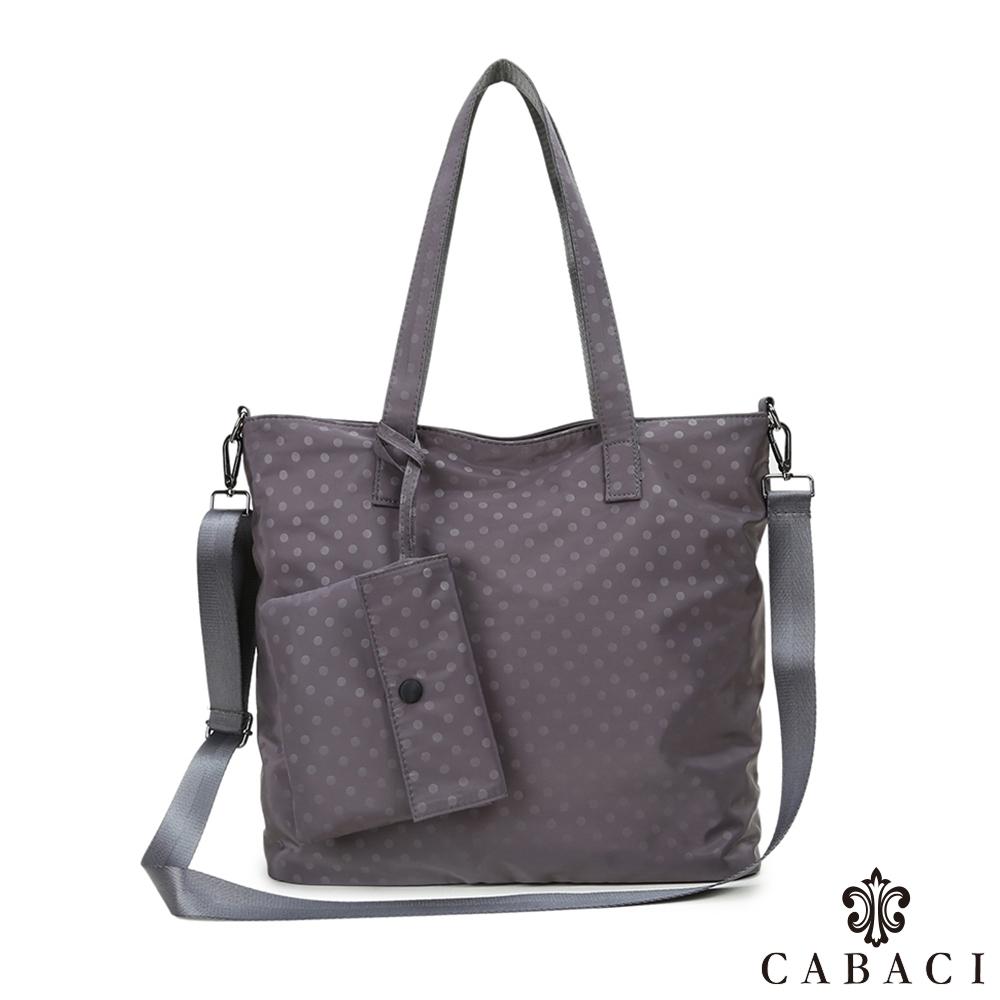 CABACI 素色小圓點肩背斜背二用包-灰色