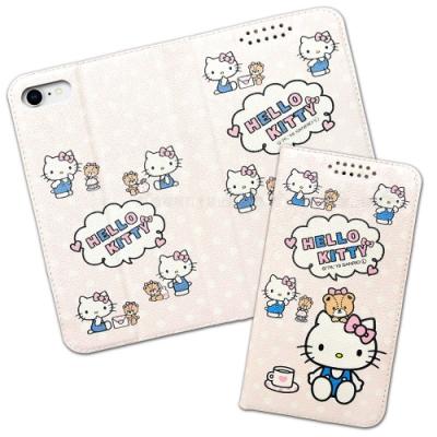 三麗鷗授權 Hello Kitty貓 iPhone SE 2020/SE2 粉嫩系列彩繪磁力皮套(小熊)