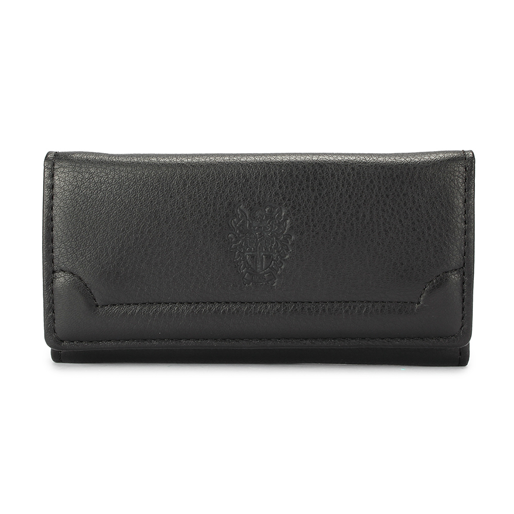 DAKS經典家徽壓紋軟皮革扣式鑰匙包-黑色
