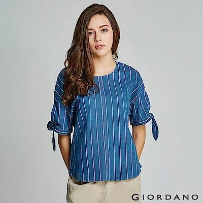 GIORDANO 女裝牛仔綁袖寬版T恤-72 淺藍