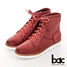 【bac】中性時尚擦色綁帶短靴-紅