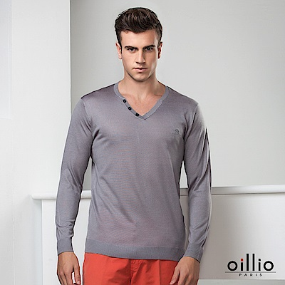 oillio歐洲貴族 長袖V領線衫 超柔羊毛毛料款 灰色