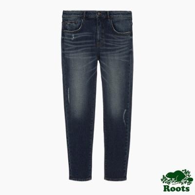 Roots男裝-刷色破壞感牛仔褲-藍