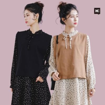 [時時樂限定]H:CONNECT 女裝 –精選領口捲邊綁帶兩件式洋裝-兩款