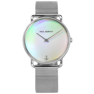 PH PAUL HEWITT 彩虹光 藍寶石水晶玻璃 米蘭編織不鏽鋼手錶-銀色/33mm