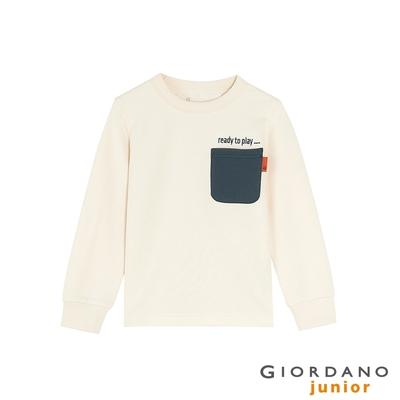 GIORDANO  童裝口袋條紋長袖T恤 - 02 低調白