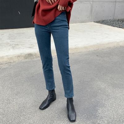 THG 韓版復古水洗高腰直筒牛仔褲- 藍/黑