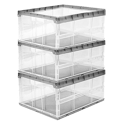WallyFun 30公升果凍折疊收納箱X3入 (灰/紫可選)