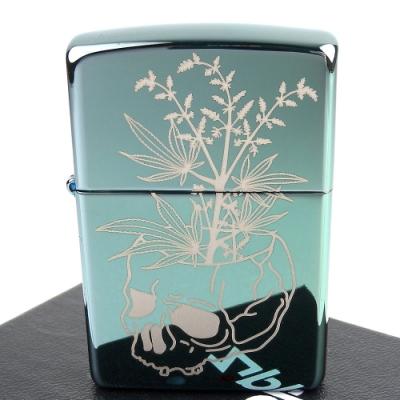 ZIPPO 美系~Botanical-大麻骷髏圖案設計打火機