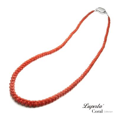 大東山珠寶 歐美古典編織珠寶 全紅沙丁珊瑚項鍊 47CM