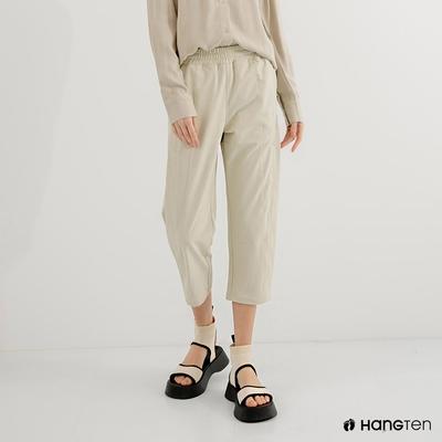 Hang Ten-女裝-恆溫多功能-REGULAR FIT四面彈防輕潑水八分褲-卡其色