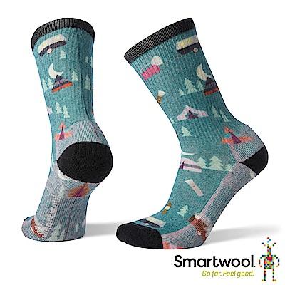 SmartWool 女 輕量減震徒步PRINT中長襪 冰川藍