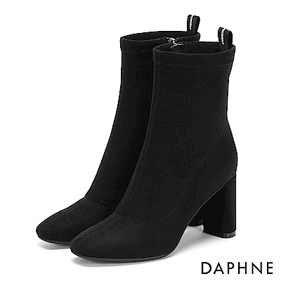 達芙妮DAPHNE 短靴-質感絨面幾何車線時尚方跟靴-黑