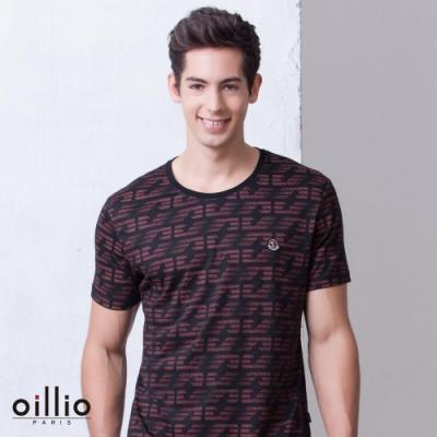 oillio歐洲貴族 超柔智能涼感修身T恤 滿版圖樣設計 紅色