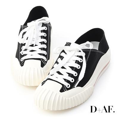 D+AF 街頭主流.奶油頭後踩式帆布休閒鞋*黑