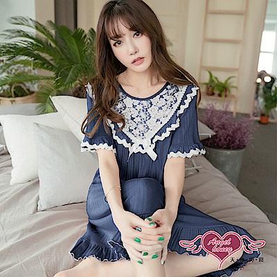 居家睡衣 落花如雪 一件式連身短袖睡裙(深藍F) AngelHoney天使霓裳
