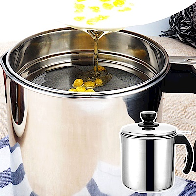 EZlife日式304不鏽鋼帶蓋濾油壺1.8L(贈茶巾4入組)