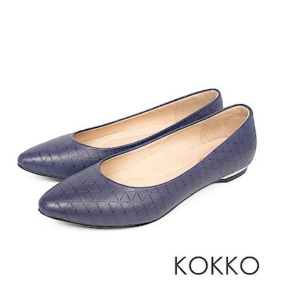 KOKKO - 經典彎折尖頭菱格壓紋羊皮平底鞋 - 時尚藍