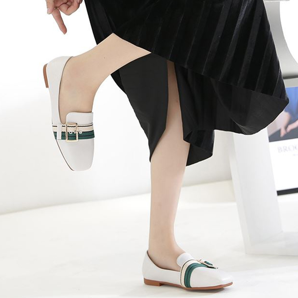 LN 韓版金屬撞色一字帶平底樂福鞋-3色