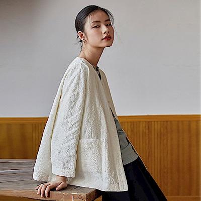 旅途原品_從前_原創設計亞麻米粒繡箱型外套-米白色/藏藍
