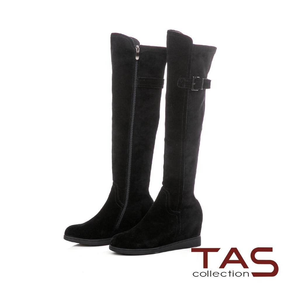 TAS前高後低牛麂皮後皮帶內增高過膝靴-女神黑