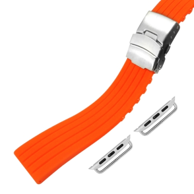 Apple Watch 蘋果手錶替用錶帶 可剪裁 矽膠錶帶-橘色