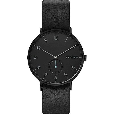SKAGEN 北歐時尚小秒針石英錶-黑/40mm (SKW6480)