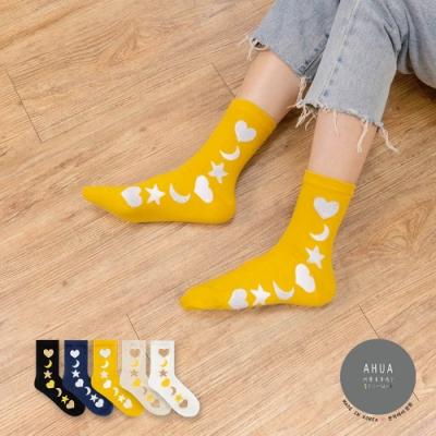 阿華有事嗎  韓國襪子 側邊金蔥愛心月亮星星中筒襪  韓妞必備 正韓百搭純棉襪