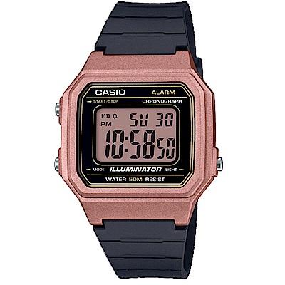 CASIO 復古風金屬感設計數位電子腕錶(W-217HM-5)玫瑰金框/41mm