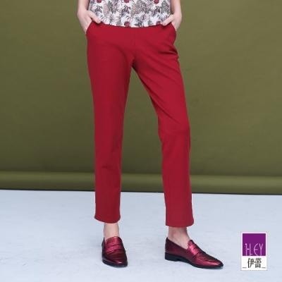ILEY伊蕾 亮麗彈性縲縈修身直筒褲(紅)