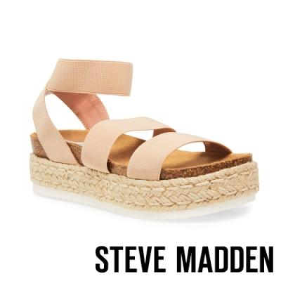 STEVE MADDEN-KIMMIE 休閒風格彈性交叉束帶麻編厚底涼鞋-粉紅