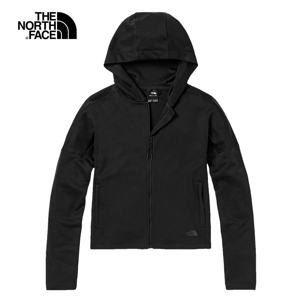 The North Face北面女款黑色吸濕排汗防曬休閒連帽外套 5B1KJK3