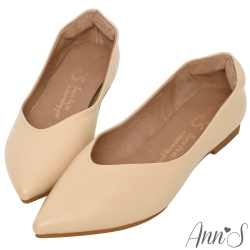Ann'S延伸修長腳背斜帶低跟尖頭鞋