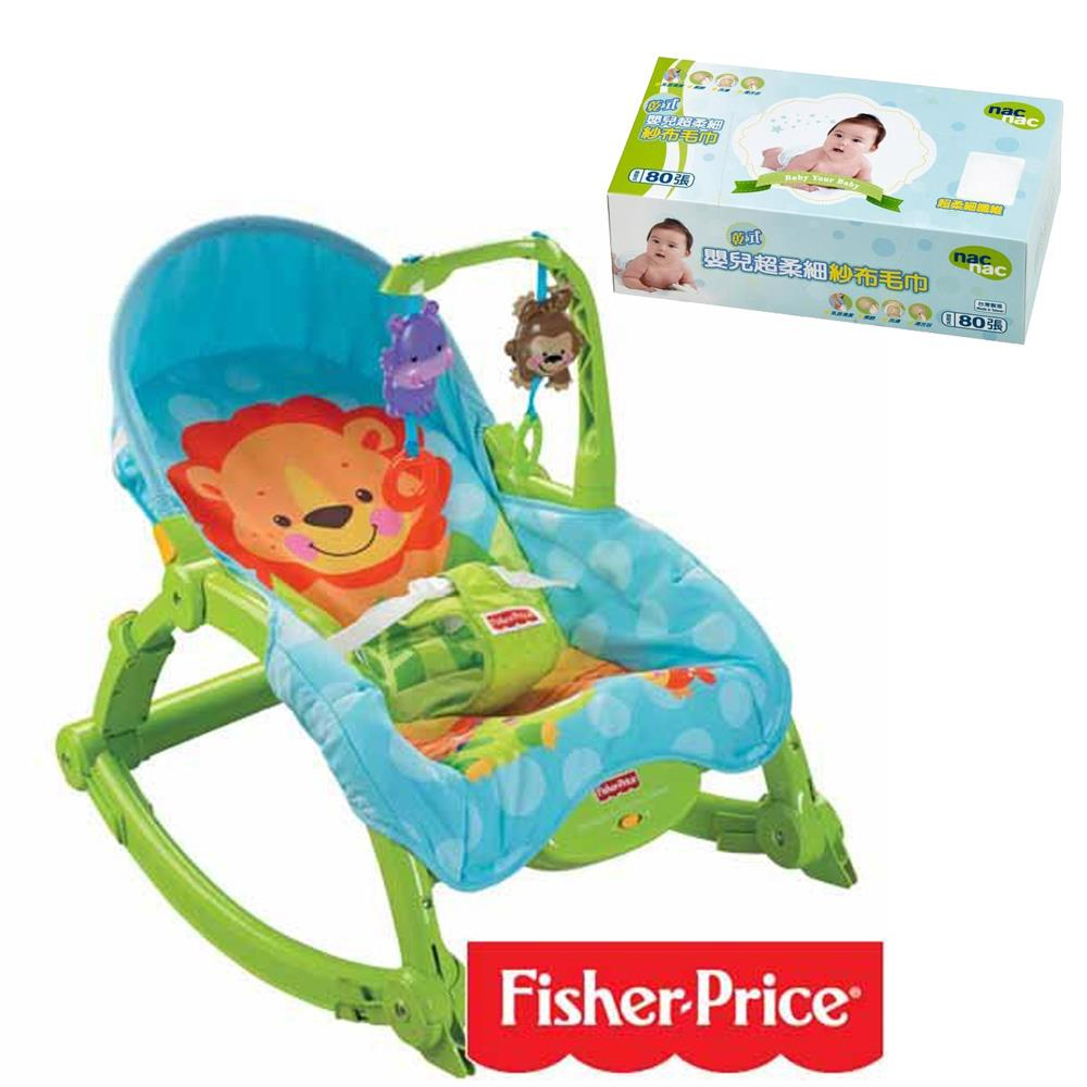 費雪牌 可愛動物可攜式兩用安撫躺椅+Nac Nac 乾式嬰兒超柔細紗布毛巾80抽*1盒