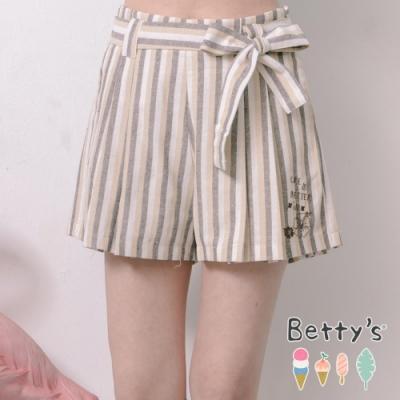 betty's貝蒂思 條紋配色微刺繡短褲(淺卡其)