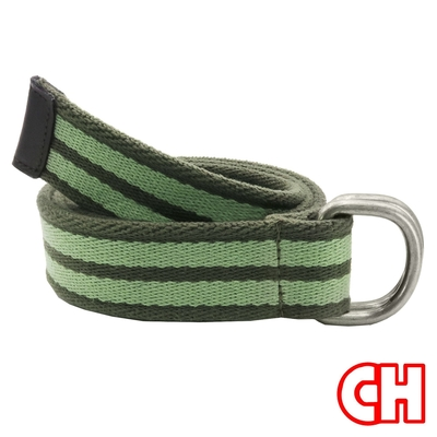 CH-BELT自然純棉雙色雙環圈織帶休閒皮帶腰帶(綠)