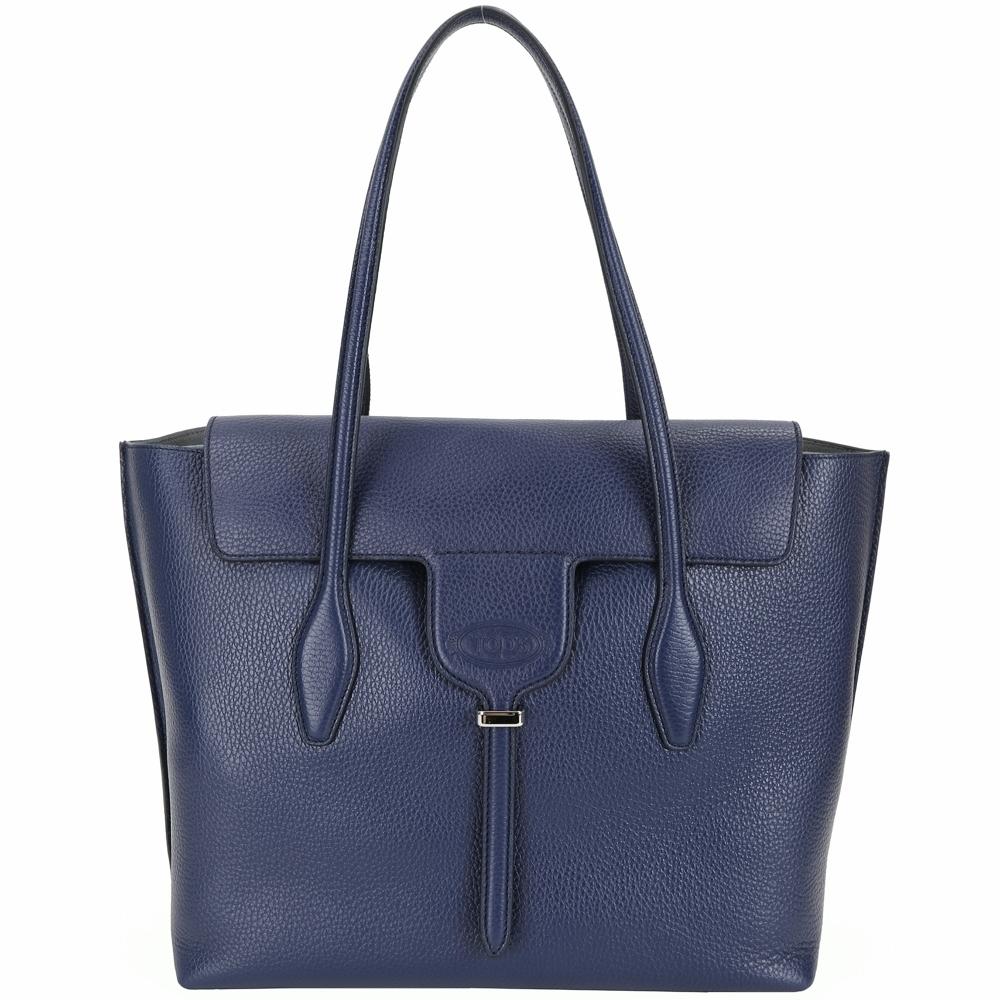 TOD'S New Joy Bag 中款 T釦翻蓋牛皮托特包(靛藍色)