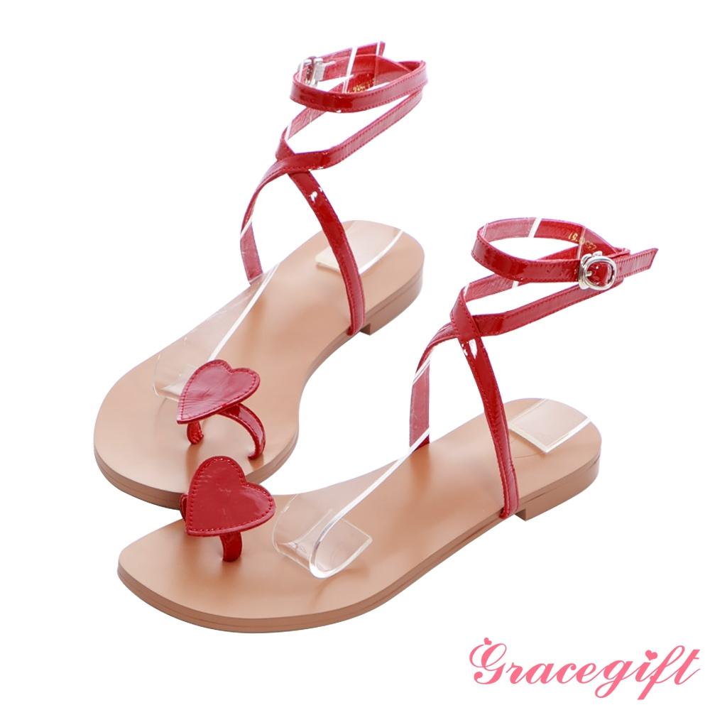 Grace gift X Angelina-聯名全真皮愛心套趾平底涼鞋 深紅