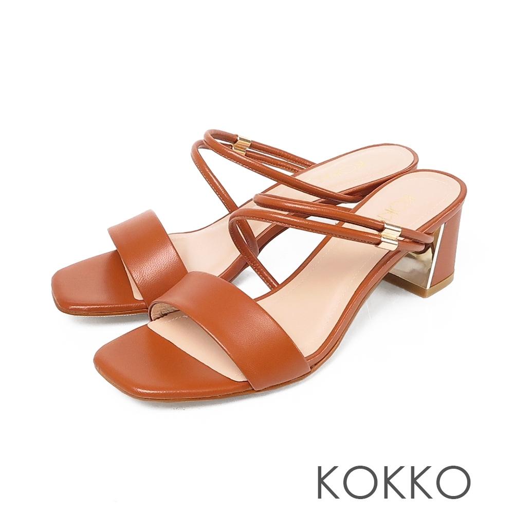 KOKKO優雅不對稱方頭真皮粗跟涼鞋-磚橘色
