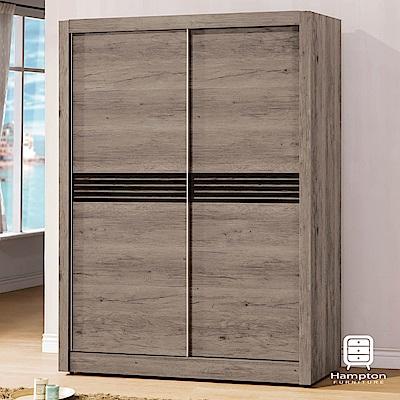 漢妮Hampton諾爾曼系列古橡木5尺推門衣櫥-149x60x202cm