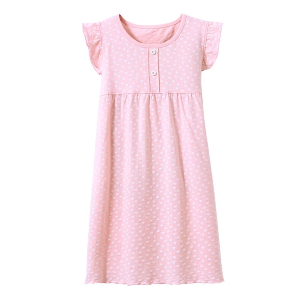 【優貝選】高質感甜美荷葉秀愛心兒童長裙睡衣-粉色