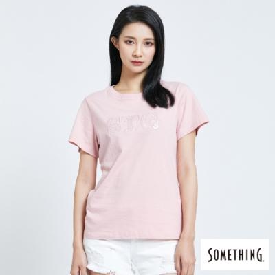 SOMETHING 立體繡亮片LOGO 短袖T恤-女-粉紅色