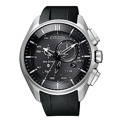 CITIZEN星辰光動能藍芽連線鈦金計時手錶(BZ1040-09E)-黑X銀框/48mm