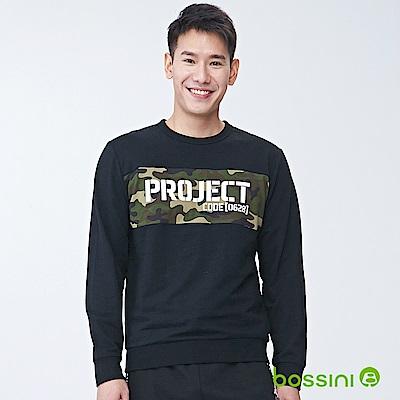 bossini男裝-圓領長袖運動衫03黑