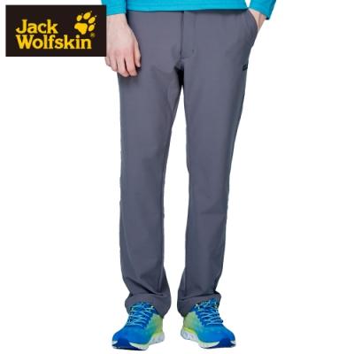 【Jack Wolfskin 飛狼】男 俐落修身內磨毛彈性休閒長褲『鐵灰』